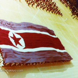 京都朝鮮中高級学校の体育祭の様子(一九六四年)。写真は集団体操の一コマで、共和国の国旗がはためく様子を表象している。同校『学校沿革史』(一九六六年)より転載。